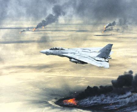 Авиация коалиции уничтожает иракские военные объекты. 1991 год. Фото с сайта www.defenseimagery.mil