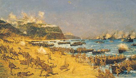Новозеландские войска высаживаются в Галлиполи. Чарльз Диксон. Высадка в бухте Анзак. 1915