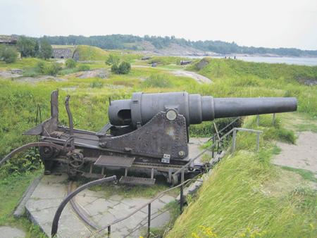 11-дюймовая пушка образца 1867 года на станке Дурляхера. Фото с сайта www.wikipedia.org