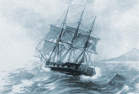 Шлюп «Надежда» был одним из двух первых кораблей, добравшихся до Русской Америки.  Рисунок XIX века