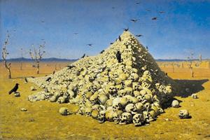 """Присущий человечеству от природы инстинкт агрессии регулярно приводит к возникновению кровавых войн. Картина """"Апофеоз войны"""" художника Василия Верещагина"""